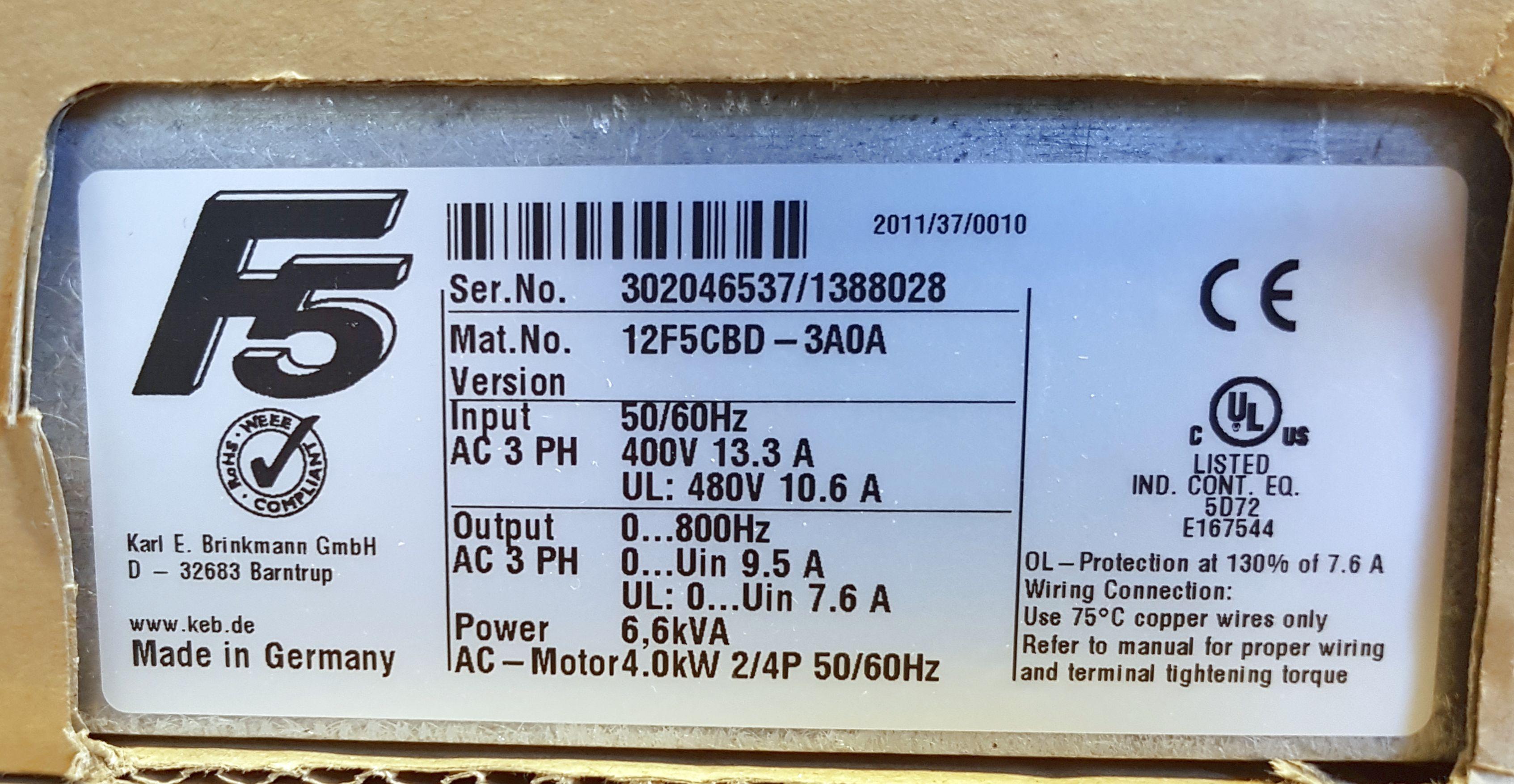 KEB Combivert Inverter F5,12 F5 CBD-3A0A,12F5CBD3A0A